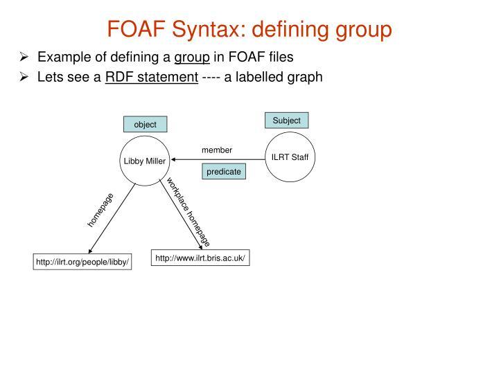 FOAF Syntax: defining group