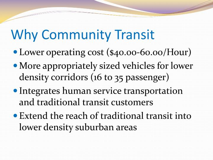 Why community transit