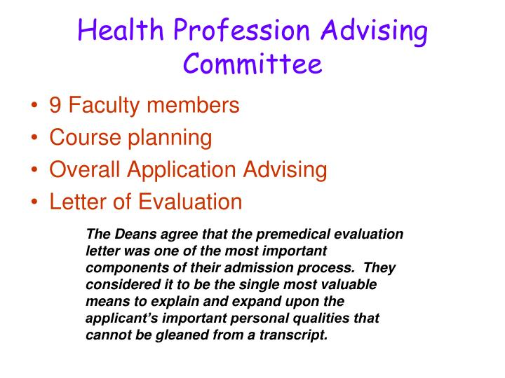Health Profession Advising Committee