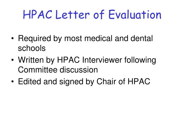 HPAC Letter of Evaluation