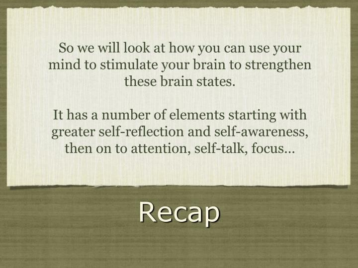 So we will look at how you can use your mind to stimulate your brain to strengthen these brain states.