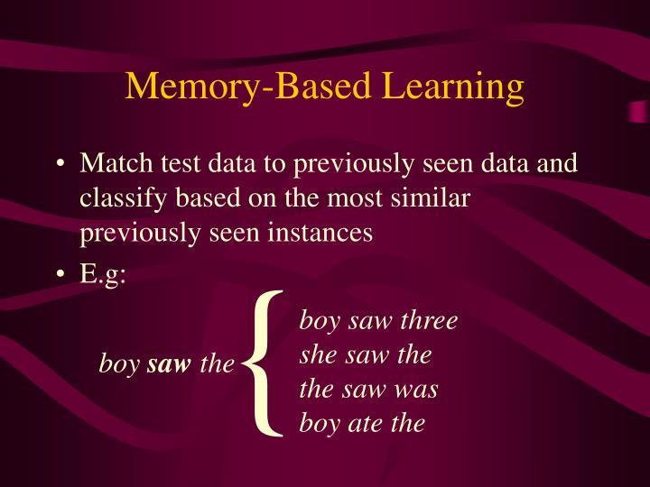 Memory-Based Learning