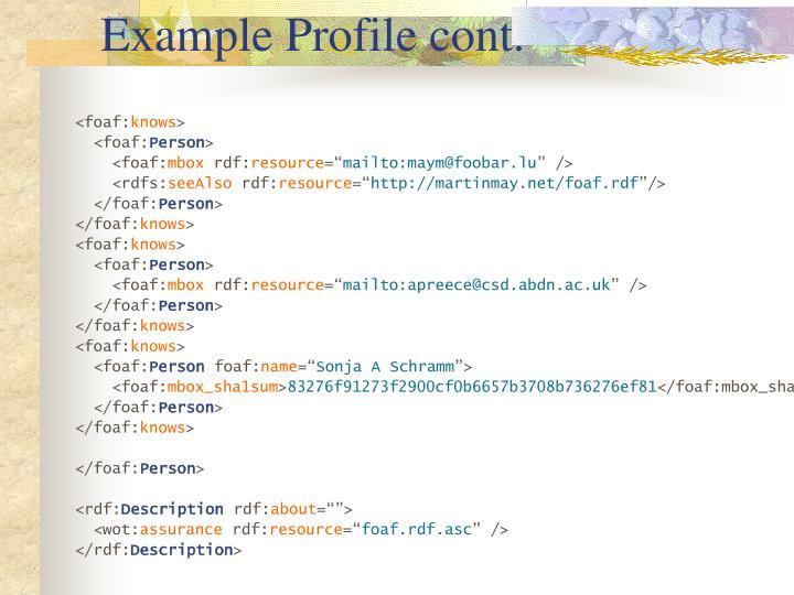 Example Profile cont.