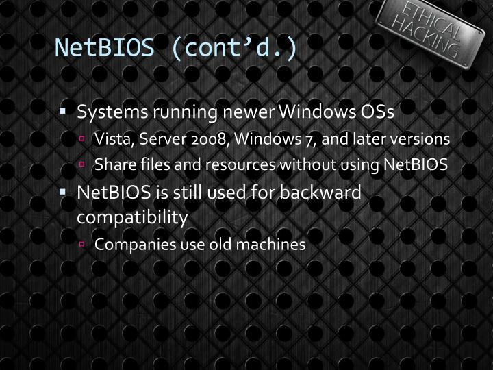 NetBIOS (cont'd.)