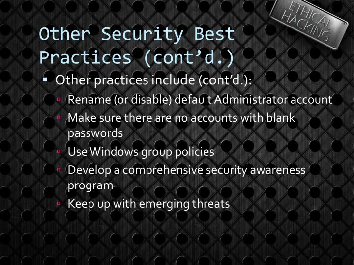Other Security Best Practices (cont'd.)