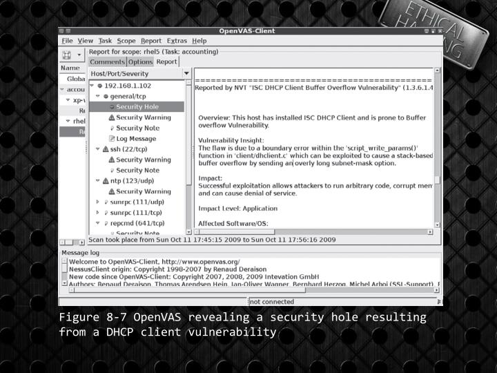 Figure 8-7 OpenVAS revealing a security hole resulting from a DHCP client vulnerability