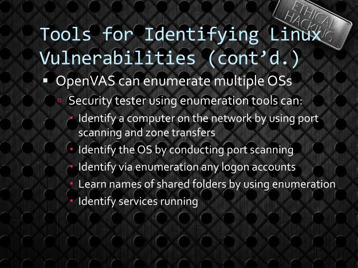 Tools for Identifying Linux Vulnerabilities (cont'd.)