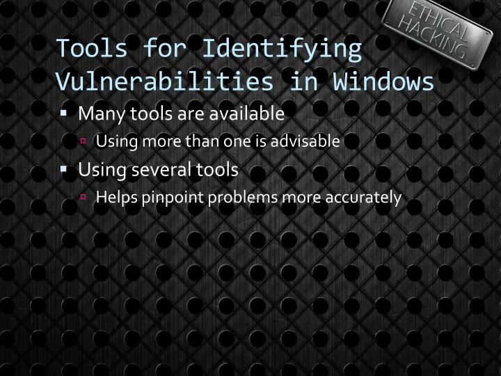 Tools for Identifying Vulnerabilities in Windows