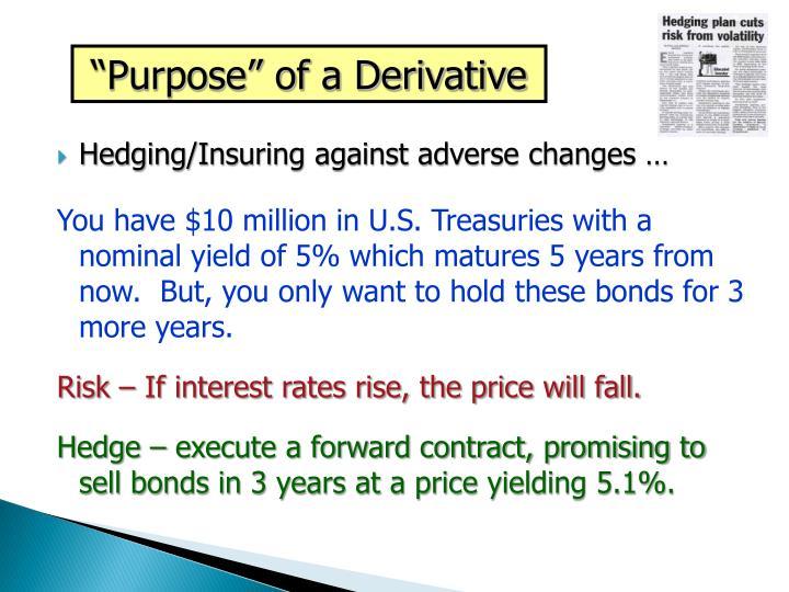 """""""Purpose"""" of a Derivative"""