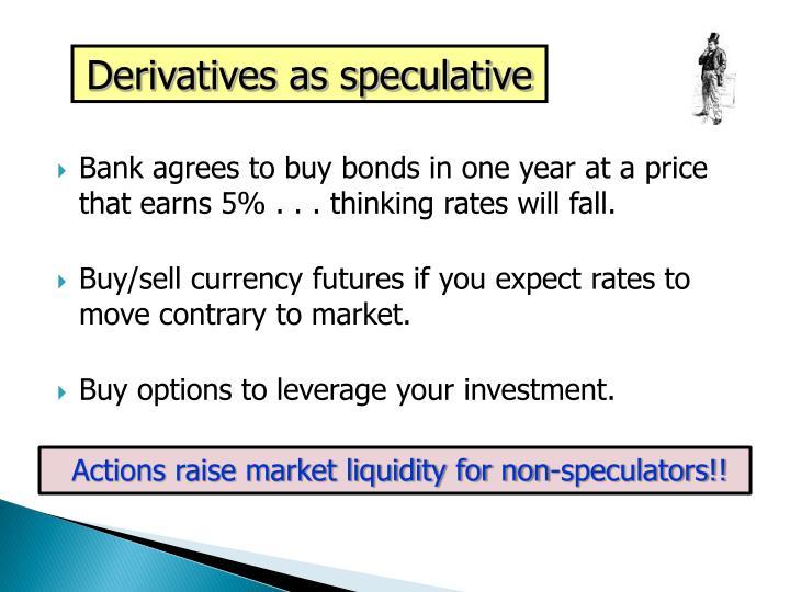 Derivatives as speculative