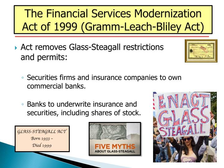 The Financial Services Modernization Act of 1999 (Gramm-Leach-Bliley Act)