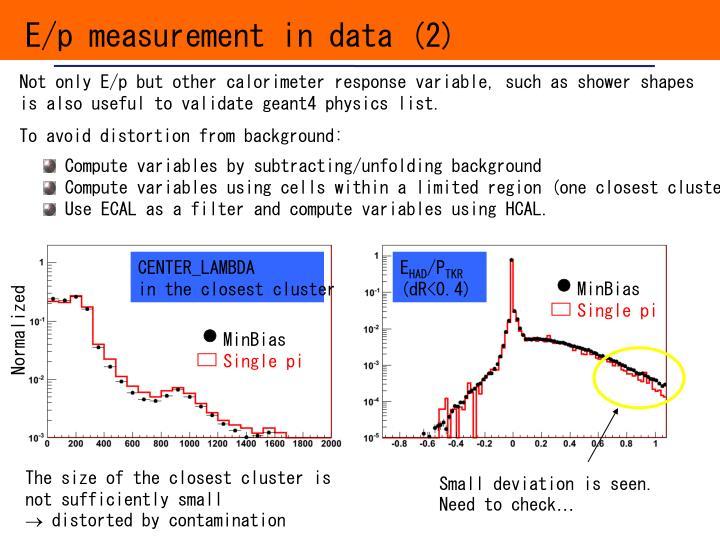 E/p measurement in data (2)