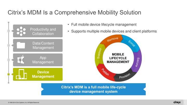 Citrix's MDM Is a Comprehensive Mobility Solution