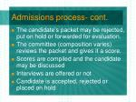 admissions process cont