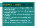 interview cont d