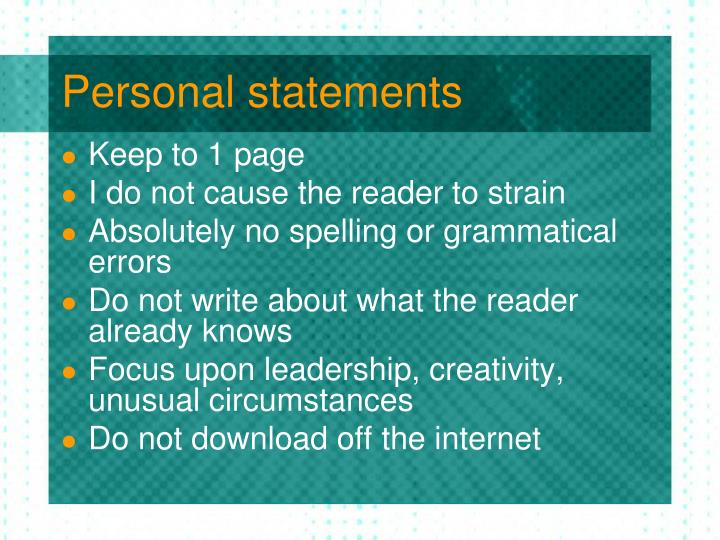 Personal statements