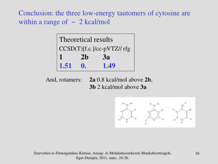 Conclusion: the three low-energy tautomers of cytosine