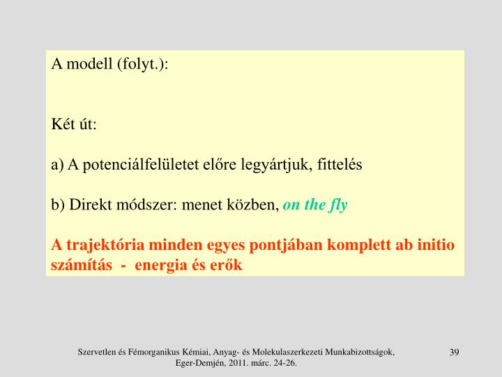 A modell (folyt.):