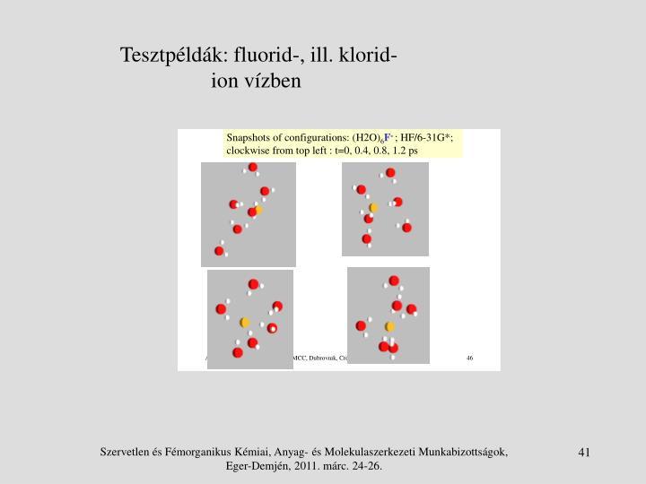 Tesztpéldák: fluorid-, ill. klorid-