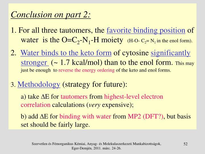 Conclusion on part 2: