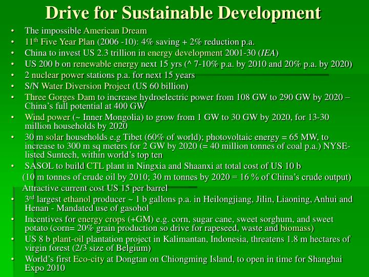 Drive for Sustainable Development
