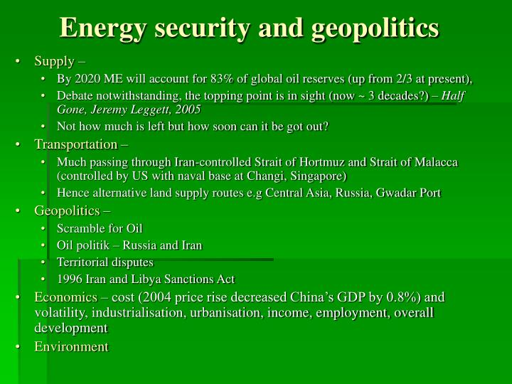Energy security and geopolitics