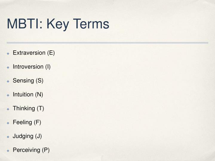 MBTI: Key Terms
