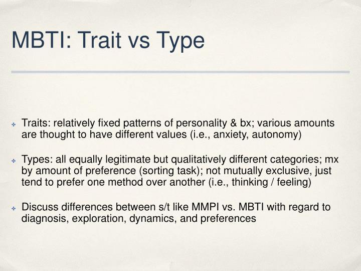 MBTI: Trait vs Type