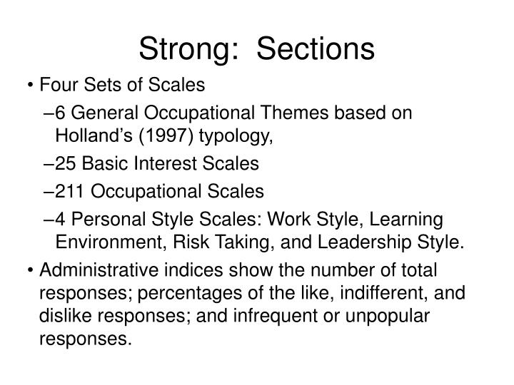 Strong:  Sections