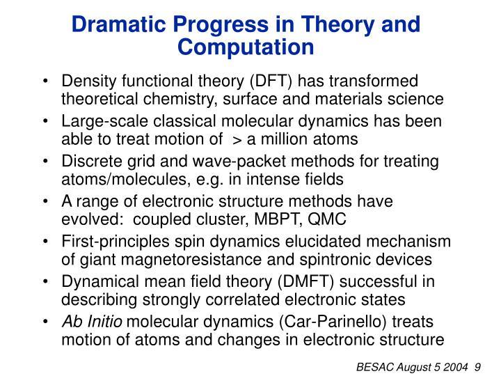 Dramatic Progress in Theory and Computation