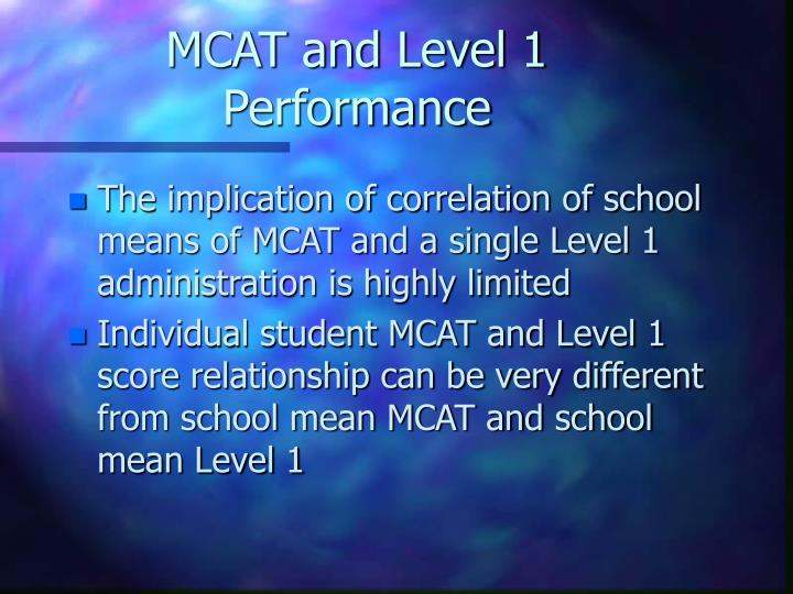MCAT and Level 1 Performance