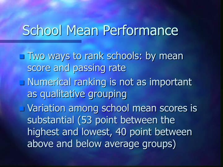 School Mean Performance