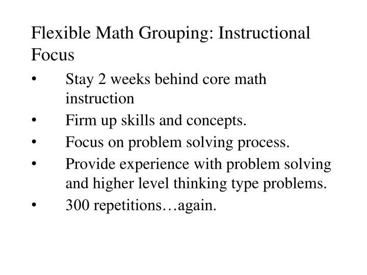 Flexible Math Grouping: Instructional Focus