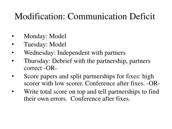 Modification: Communication Deficit