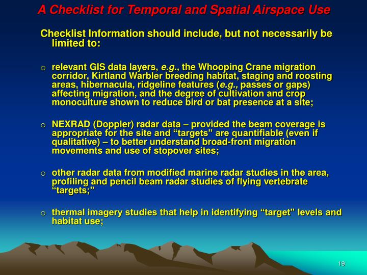 A Checklist for Temporal and Spatial Airspace Use