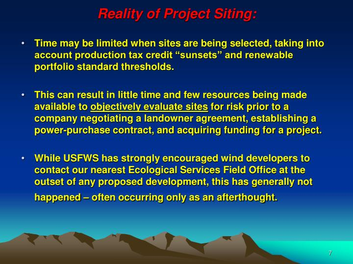 Reality of Project Siting: