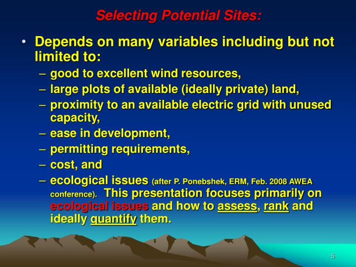 Selecting Potential Sites: