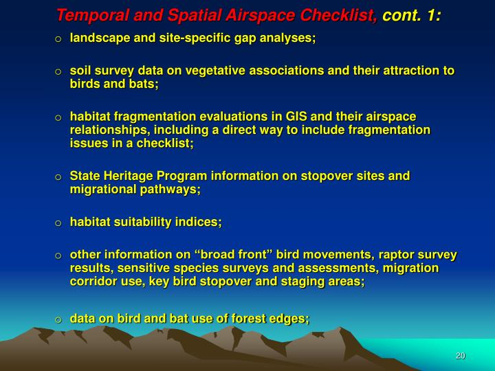 Temporal and Spatial Airspace Checklist,