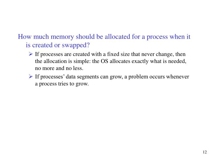 How much memory should be allocated for a process when it is created or swapped?