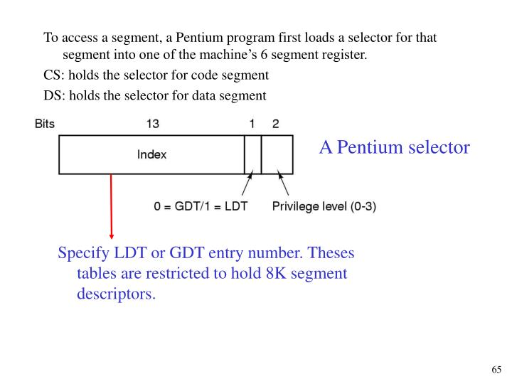 To access a segment, a Pentium program first loads a selector for that segment into one of the machine's 6 segment register.