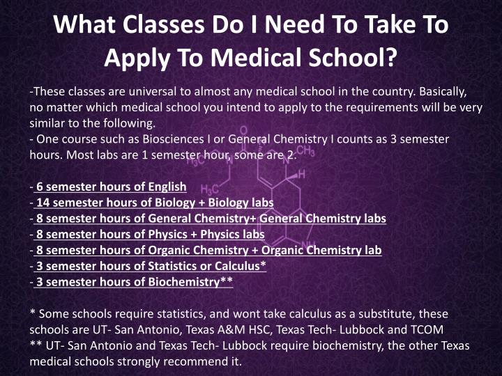 These classes are universal to almost any medical school in the country. Basically, no matter which medical school you intend to apply to the requirements will be very similar to the following.