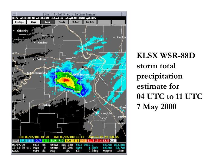 KLSX WSR-88D storm total precipitation estimate for          04 UTC to 11 UTC  7 May 2000