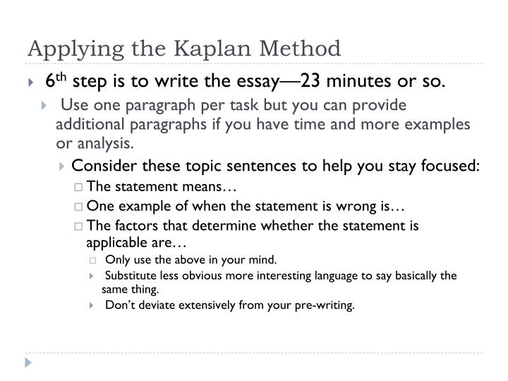 Applying the Kaplan Method