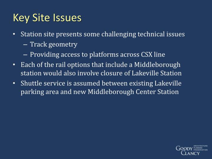 Key Site Issues