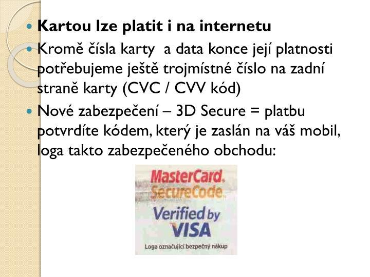 Kartou lze platit i na internetu