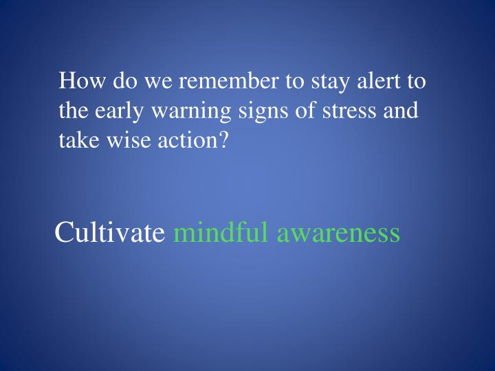 How do we remember to stay alert to the early warning signs of stress and take wise action?