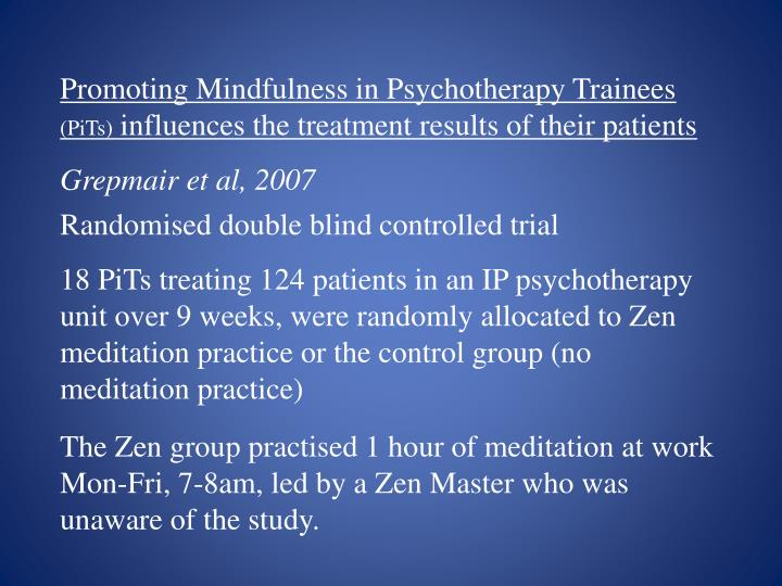 Promoting Mindfulness in Psychotherapy Trainees