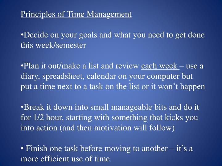 Principles of Time Management