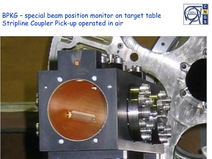 BPKG – special beam position monitor on target table