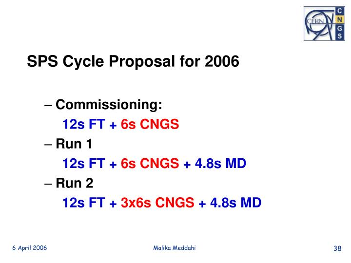 SPS Cycle Proposal for 2006